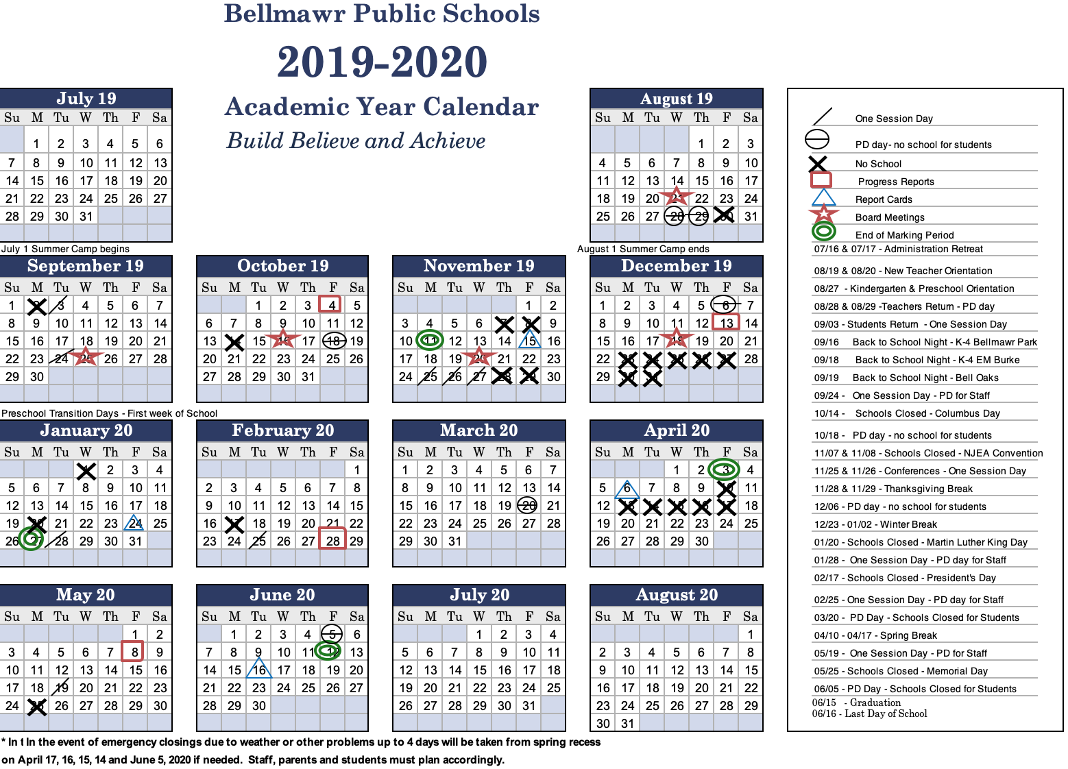 2019  2020 Calendar - Bellmawr Public School District Inside Last Day Of Summer Calendar