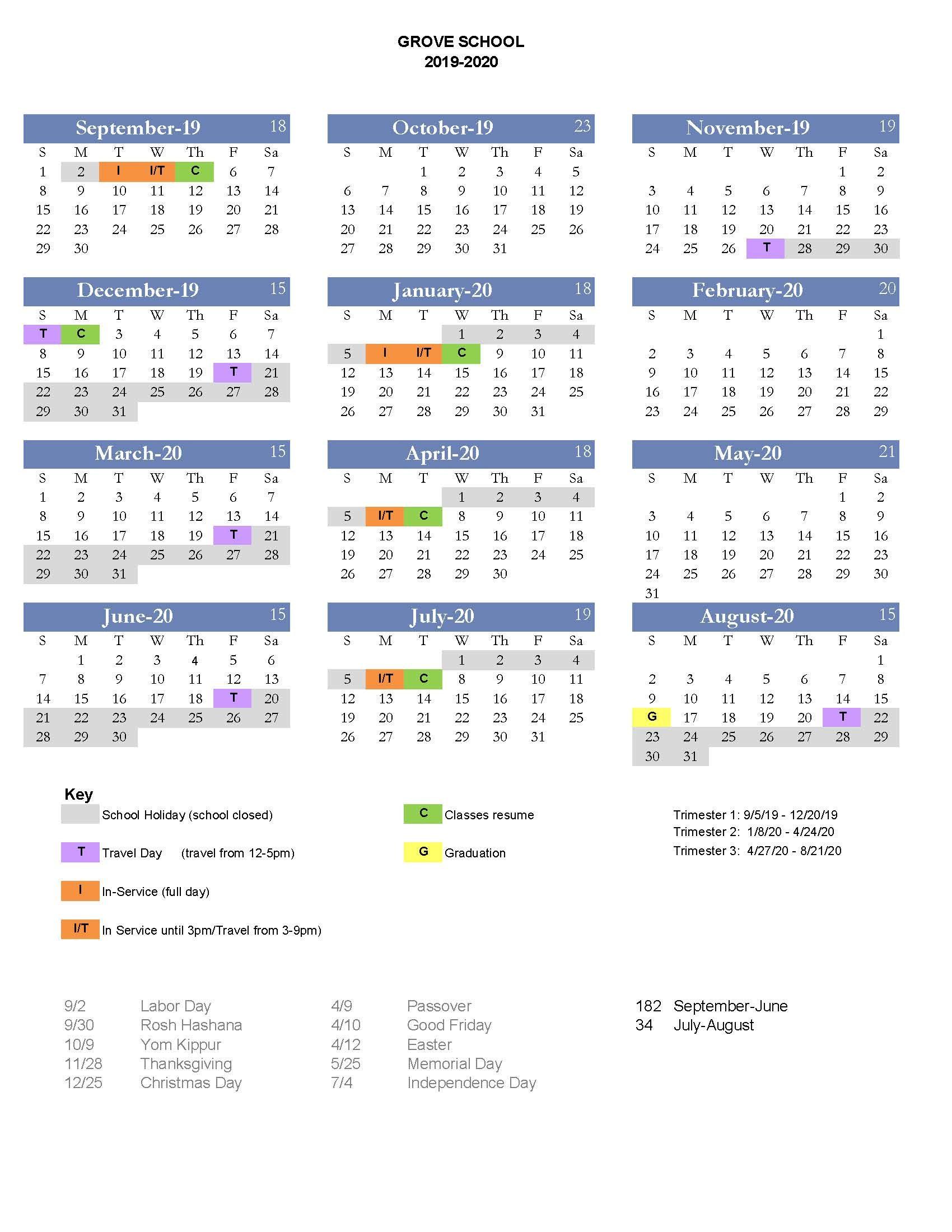 2019 2020 Calendar – Grove School With Regard To Johnson And Wales 2021 2020 Calendar