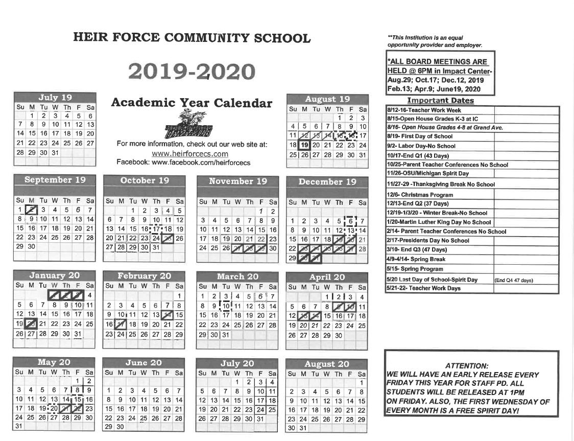 2019 2020 Calendar | Heir Force Community School With Owens Community College Calendar 2020