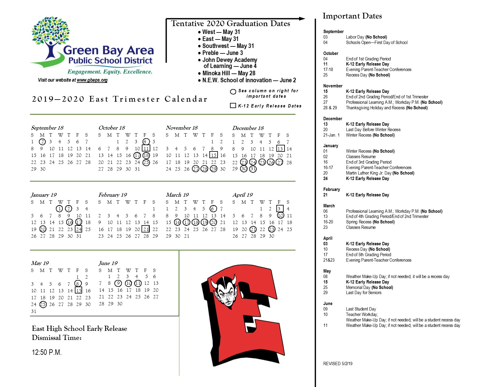 2019 2020 East Trimester Calendar - East High For Green Bay School District Calendar