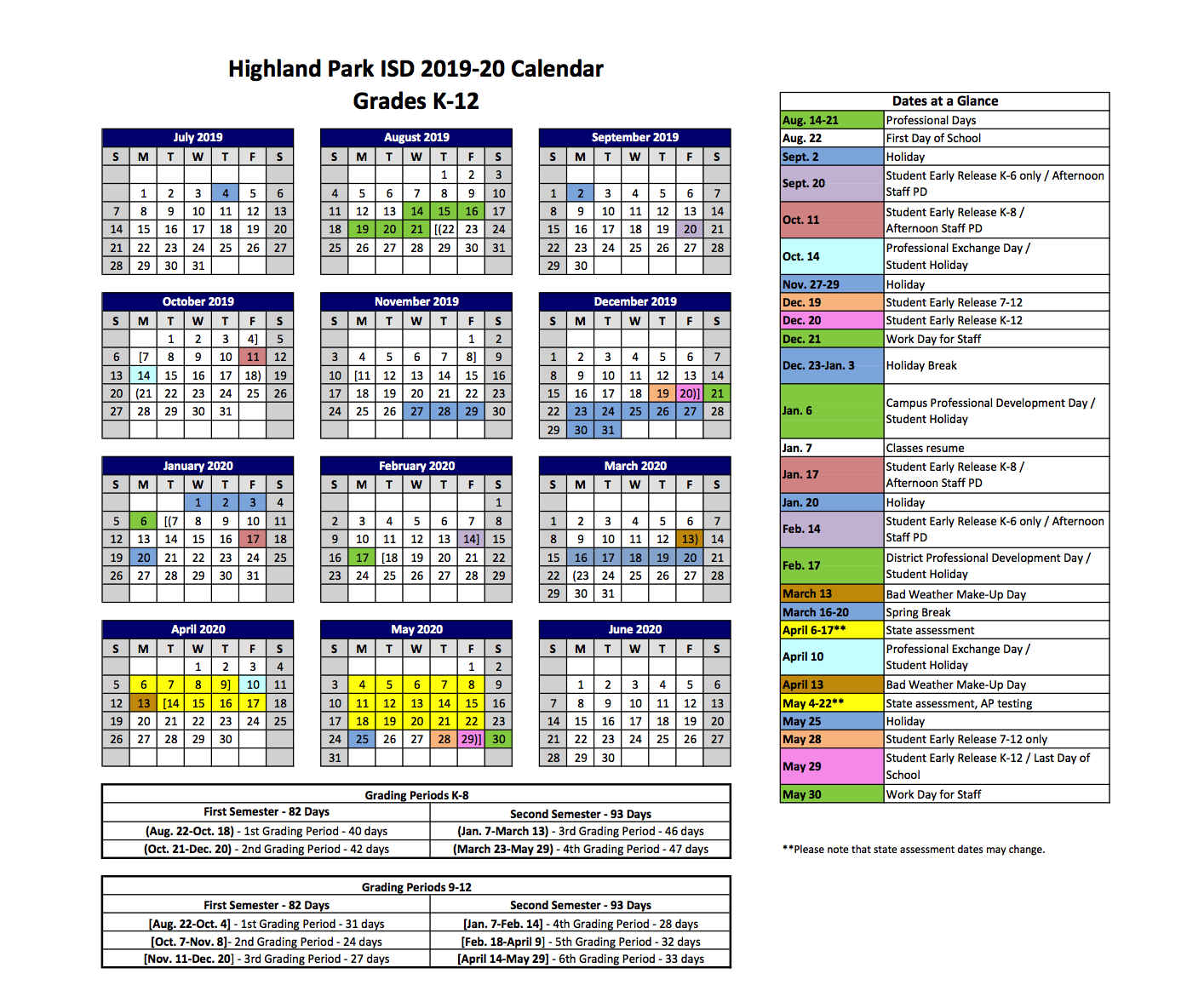 2019 2020 Hpisd Calendar – Calendars – Highland Park Intended For Illinois State University Academic Calendar