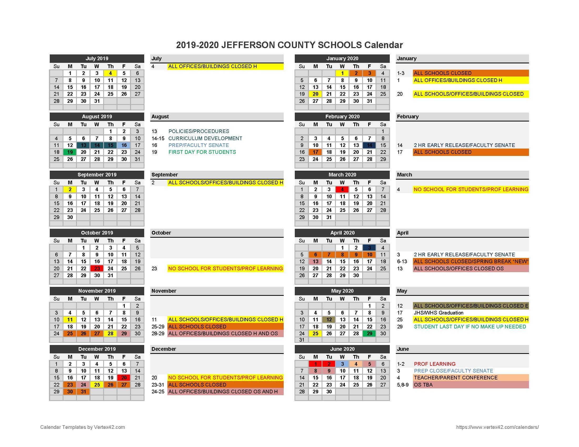 2019 2020 Parent Calendar - Jefferson County Schools Throughout Jefferson County Colorado Schools Calendar