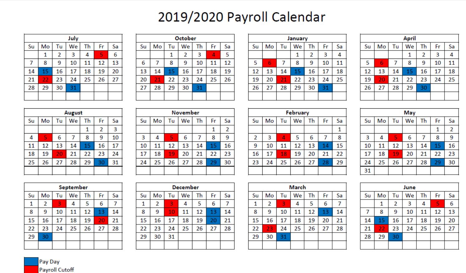 2019 2020 Payroll Calendar – Maury County Public Schools With Regard To Federal Payroll Calendar 2020