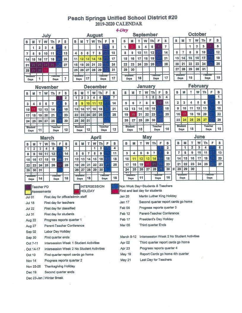 2019 2020 Peach Springs Unified School District Calendar Pertaining To Blue Springs School District Calendar