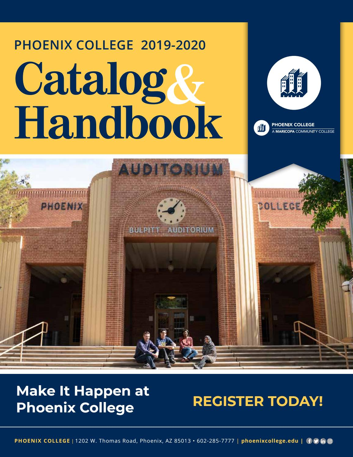 2019 2020 Phoenix College Catalog And Handbookphoenix Intended For University Of Phoenix Semester Dates