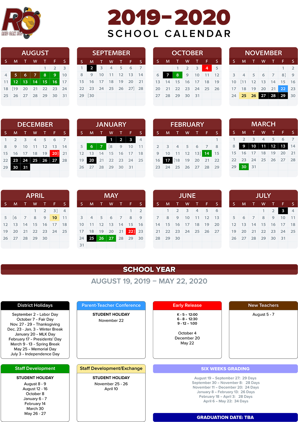 2019 2020 School Calendar / Annual Calendar Within Johnston County Public School Calendar