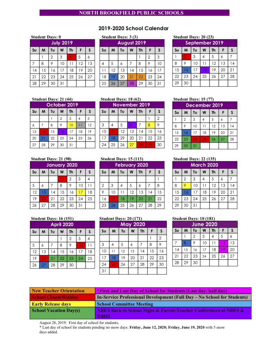 2019 2020 School Calendar | North Brookfield Public Schools Inside Univ Of Rhode Island School Calendar