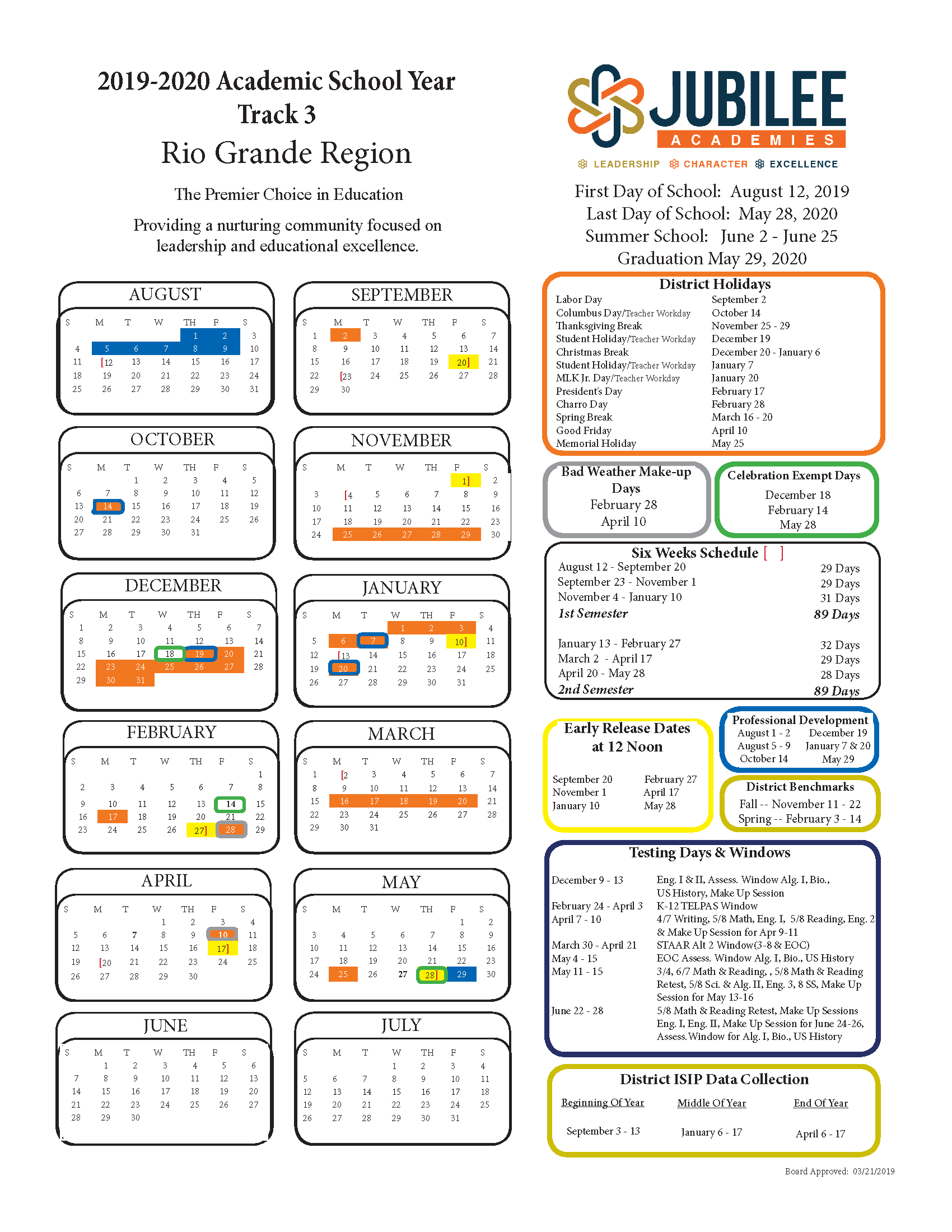 2019 2020 School Calendar – Parents – Jubilee Harlingen Within Brownsville Texas Bisd Calendar 2021 2020