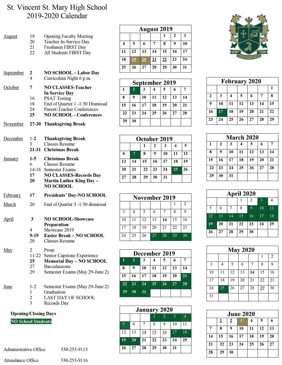 2019 2020 School Calendar Released | St. Vincent St. Mary Inside University Of Akron Fall 2020 Calendar