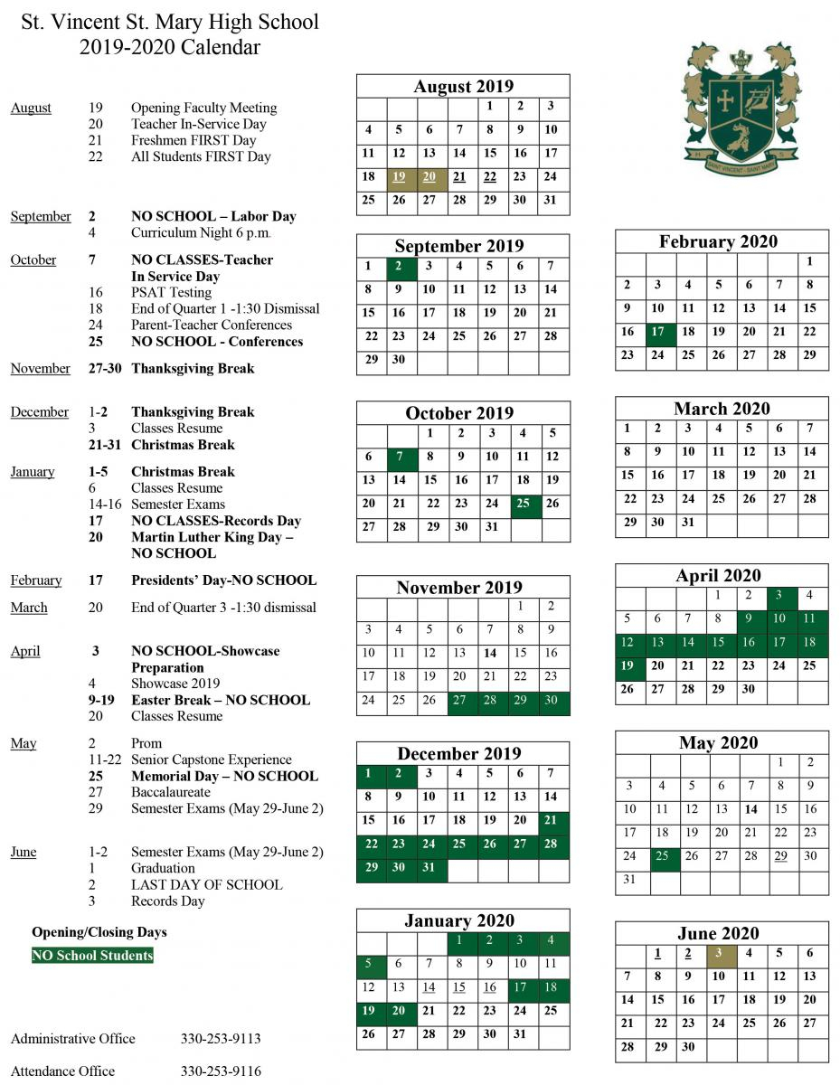 2019 2020 School Calendar Released | St. Vincent St. Mary With Regard To University Of Akron Holiday Calendar