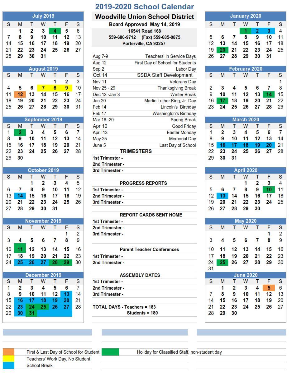 2019 2020 School Calendar - Woodville Union School District Throughout Porterville School Calendar