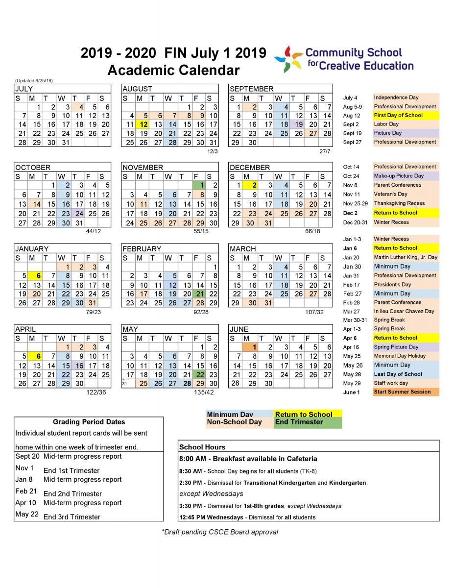 2019 2020 School Year Calendar | Community School For For Lasalle University Calendar 2021