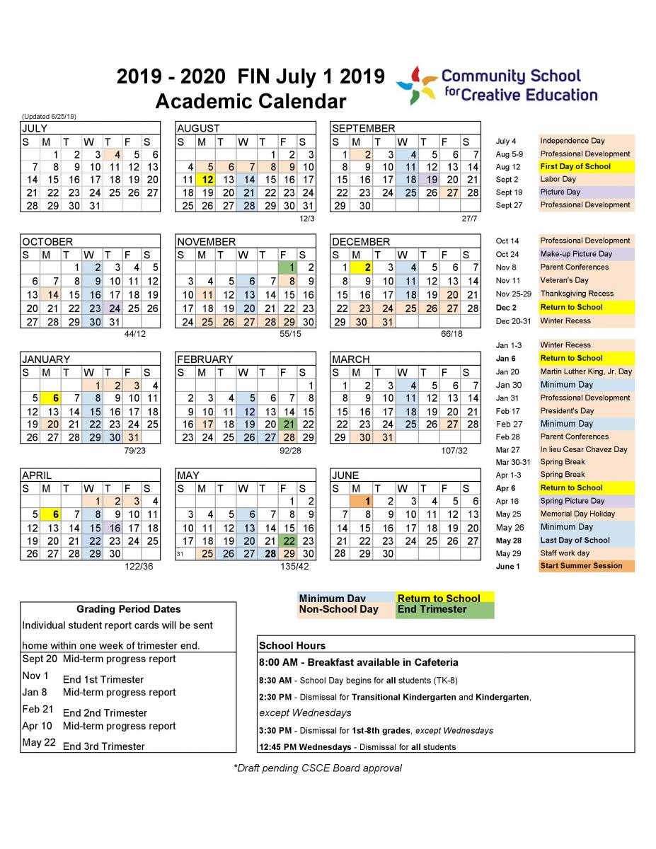 2019 2020 School Year Calendar | Community School For In La Salle University Calander