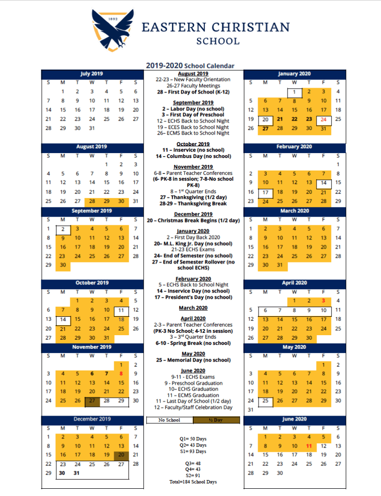 2019-2020 School Year Calendar Is Here! - Eastern Christian for Woodbridge Township School Calendar