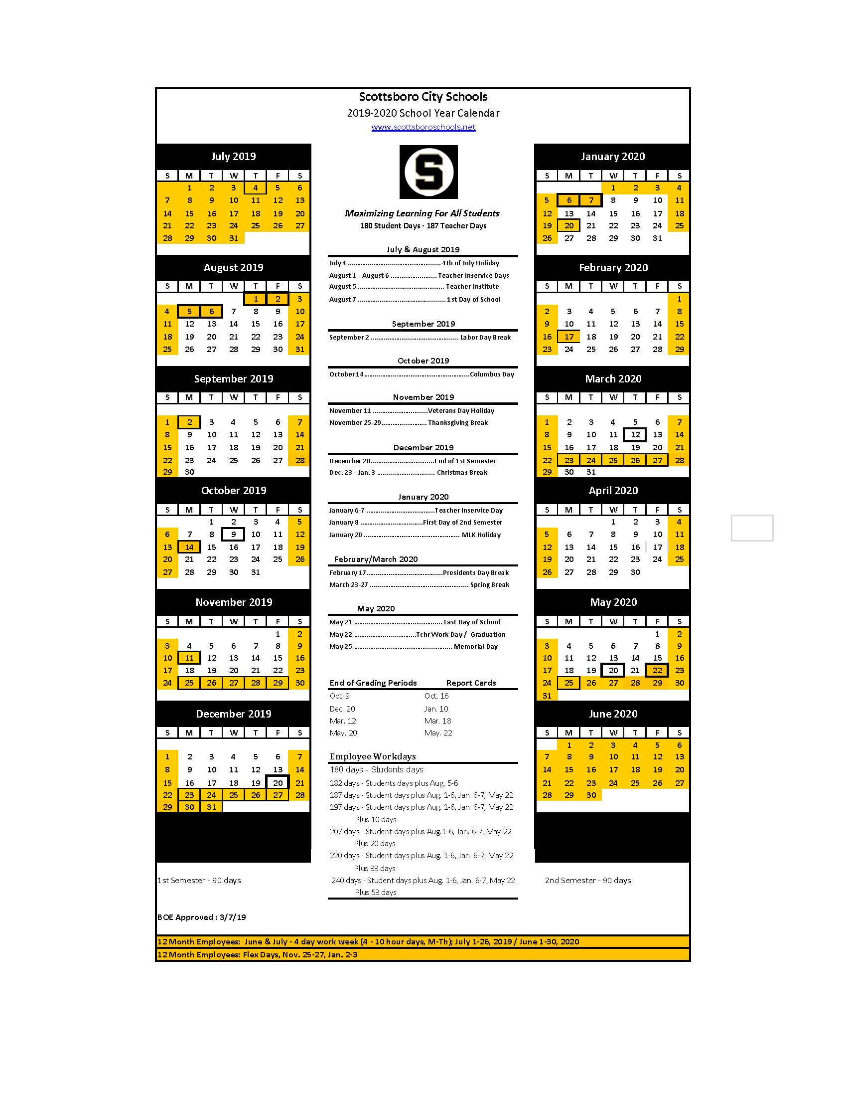 2019-2020 School Year Calendar - Scottsboro City School regarding North Thurston School Calendar 2021