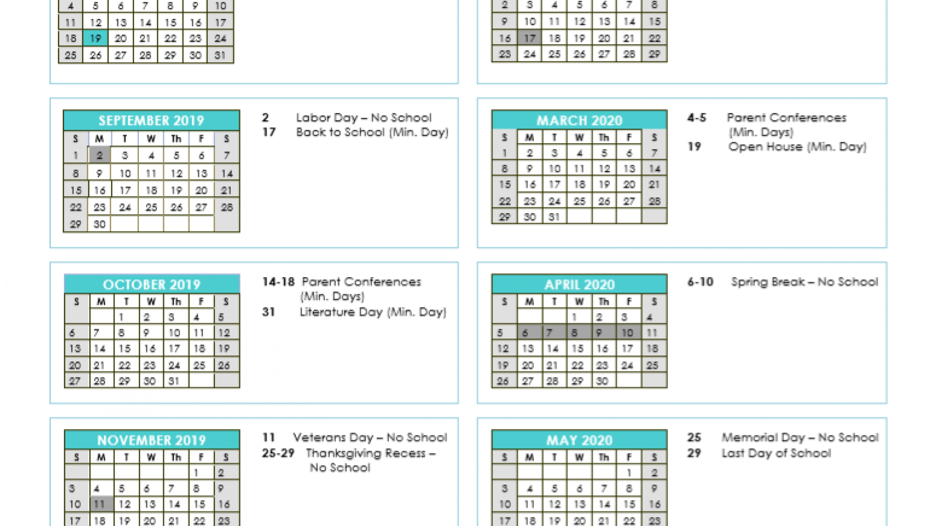 2019 2020 Spcs Oceanside School Calendar – Oceanside With Regard To Oceanside Unified School District Calendar