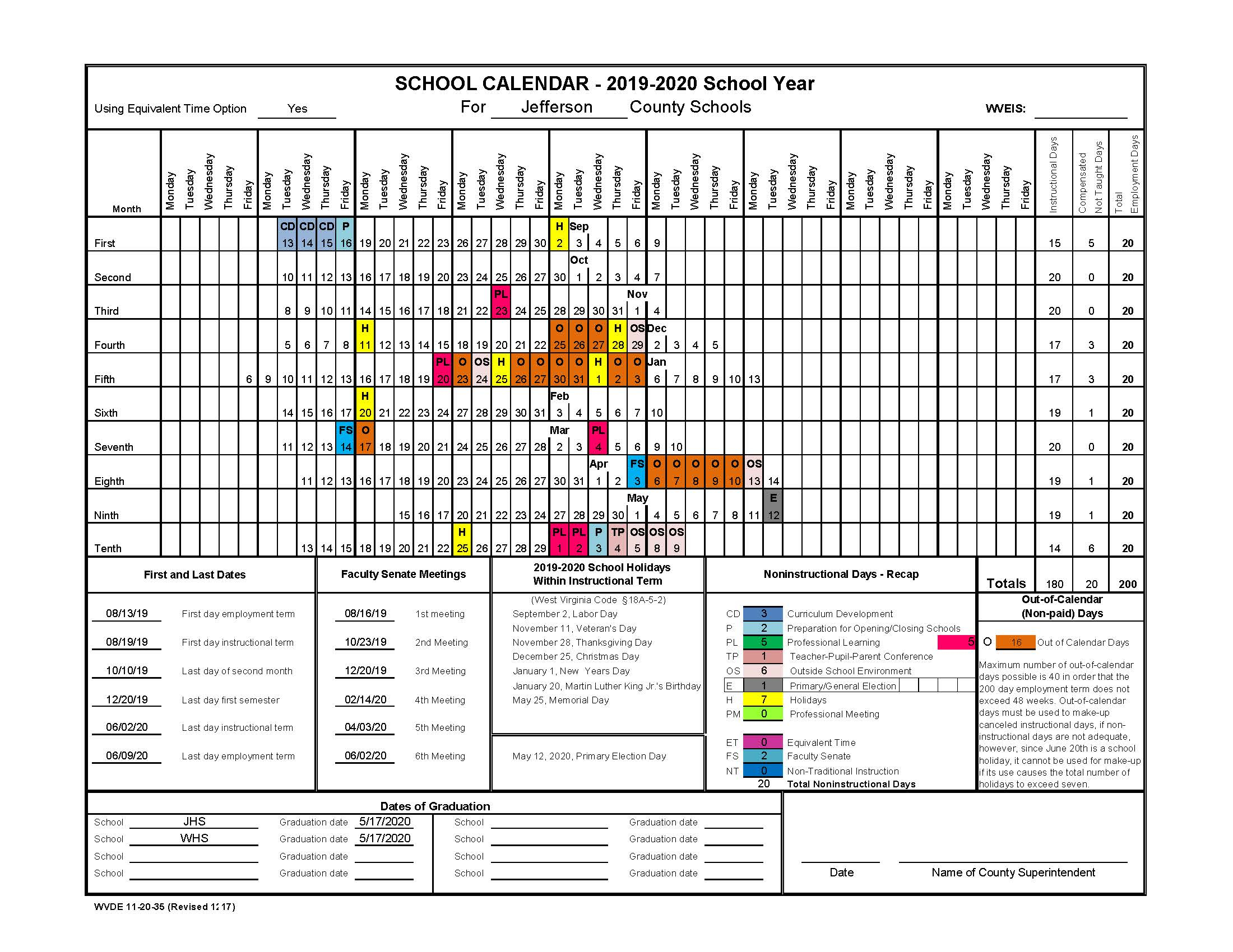 2019 2020 Staff Calendar - Jefferson County Schools Throughout Jefferson County Colorado School Calendar