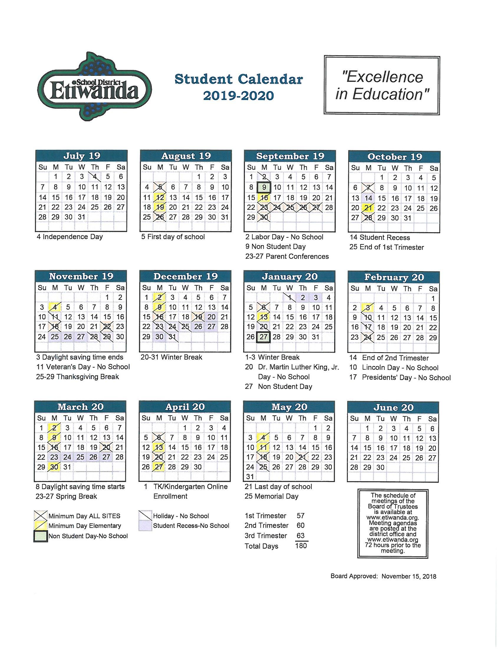 2019 2020 Student Calendar – Caryn Elementary Intended For Diamond Bar High School Calendar 2020