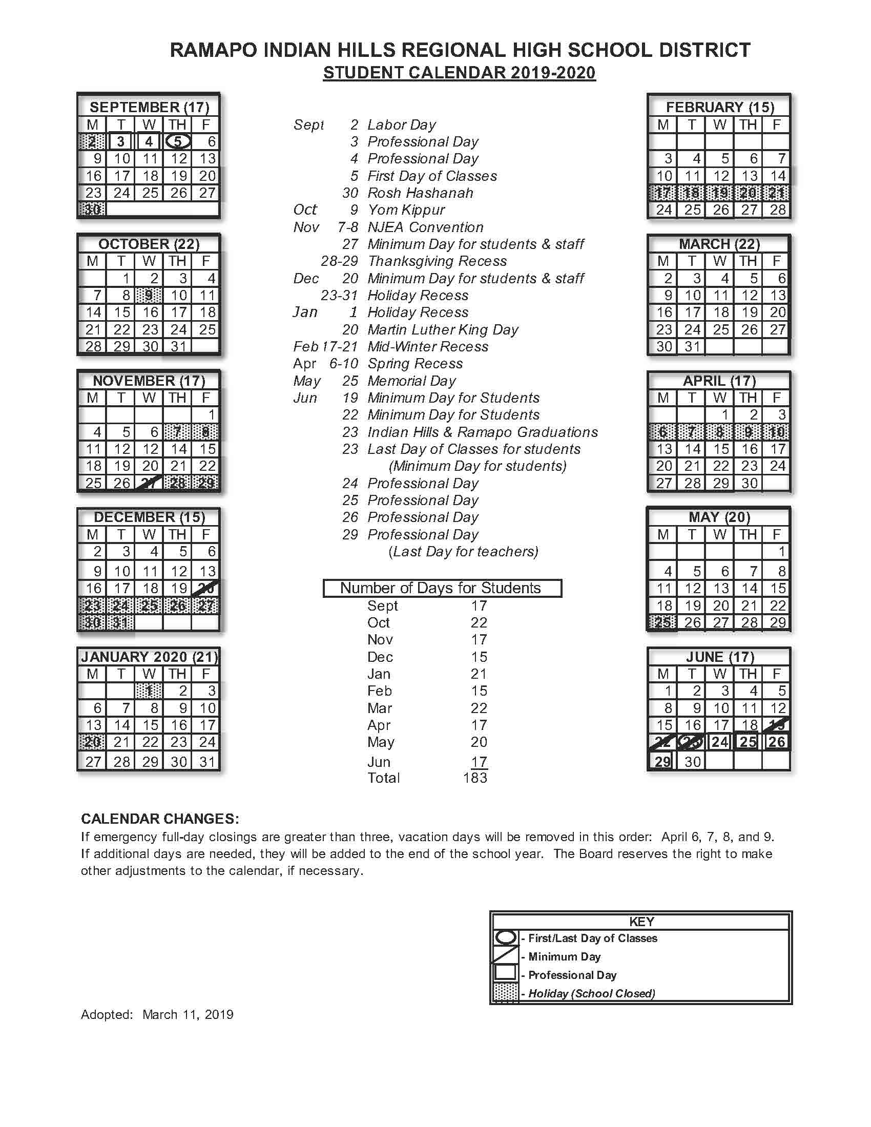 2019 2020 Student Calendar - Rihrhsd For Spring Valley Ny Hs Calendar