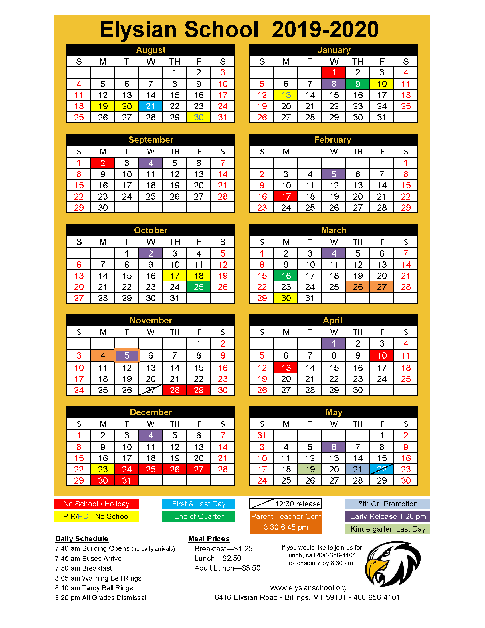 2019-2020 Year Calendar | Elysian School for Billings School Distric 2 Calendar