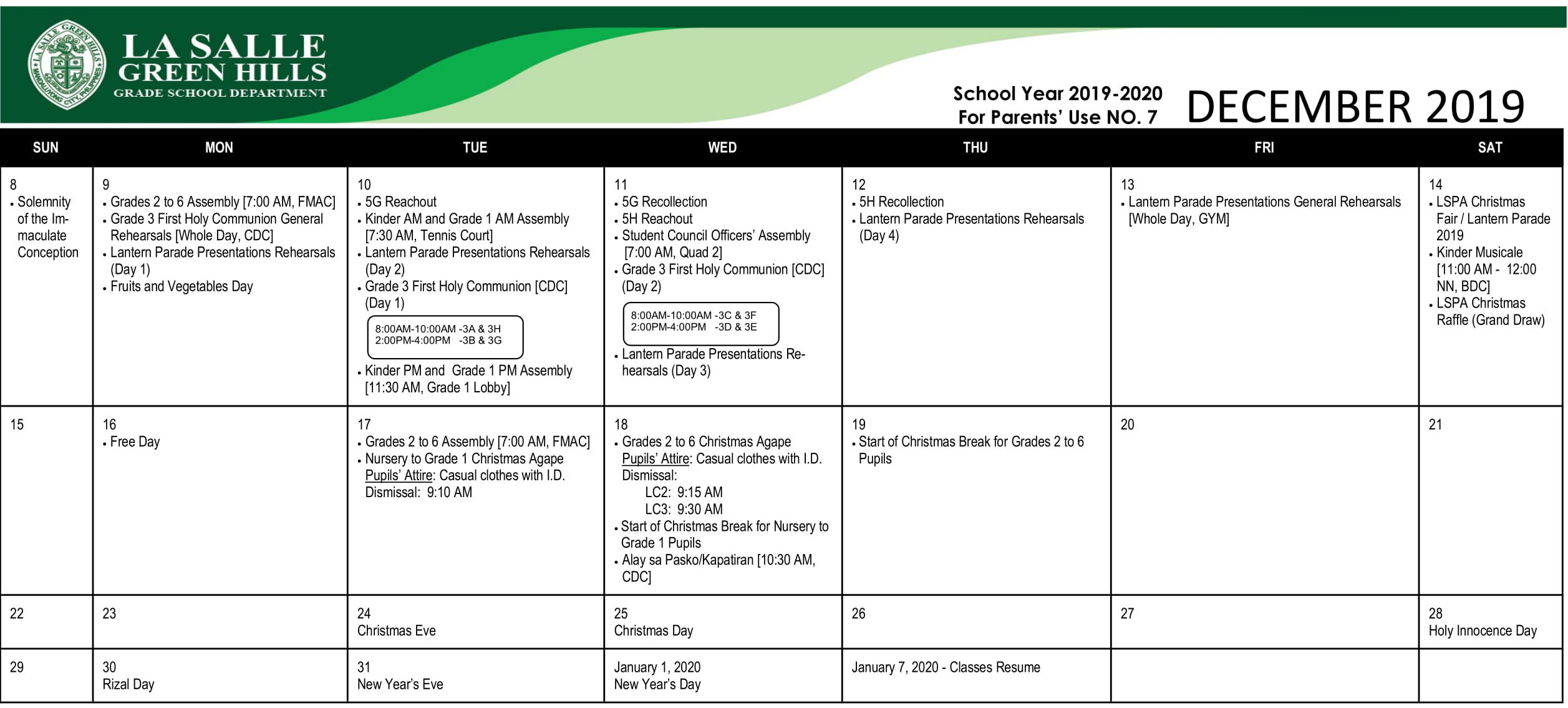 2019 Academic Calendar - La Salle Green Hills Grade School Inside La Salle University Calander