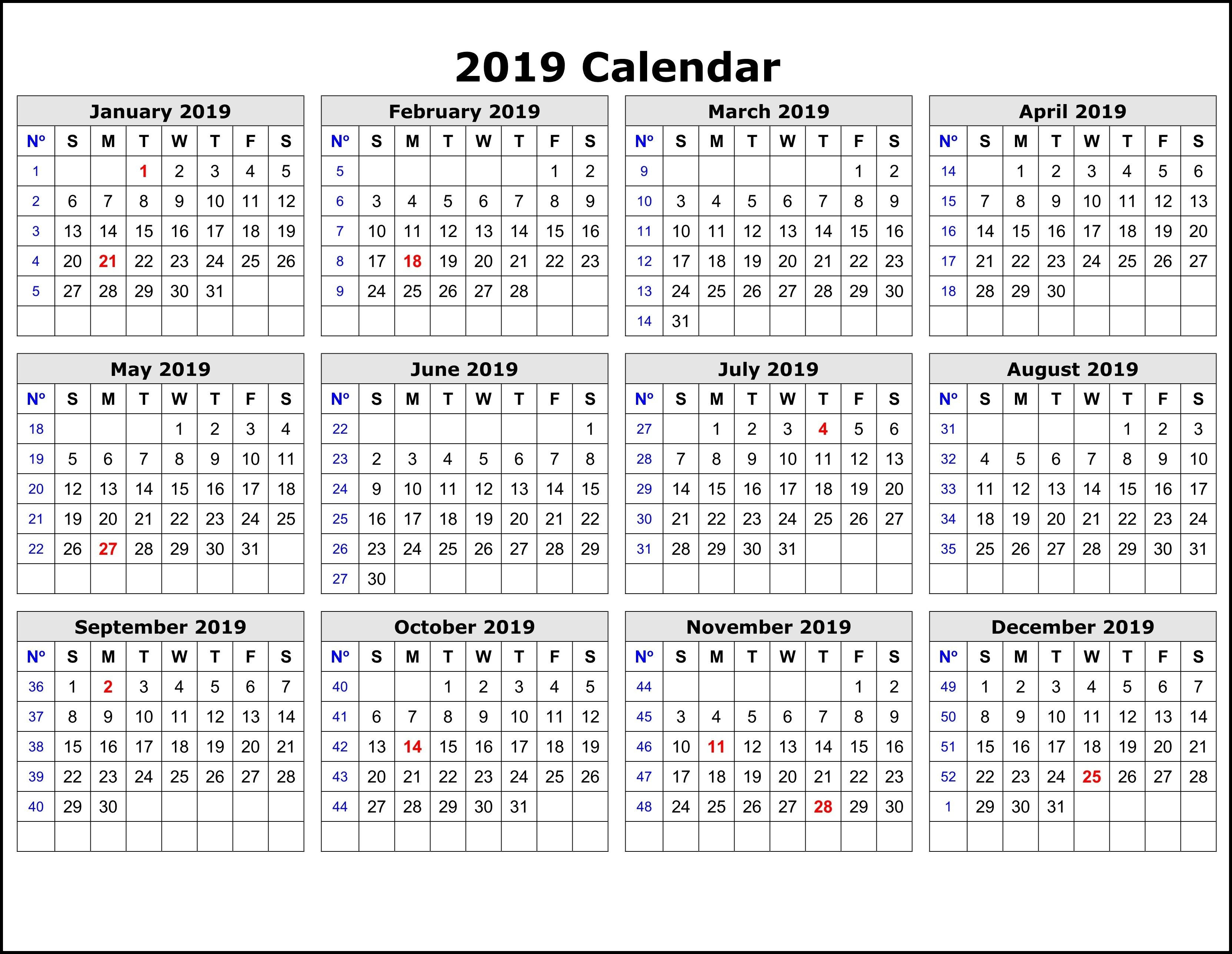 2019 Calendar Printable  12 Month Calendar On One Page (With Throughout Uri Acadmic Year 2021 - 2020 Schedule