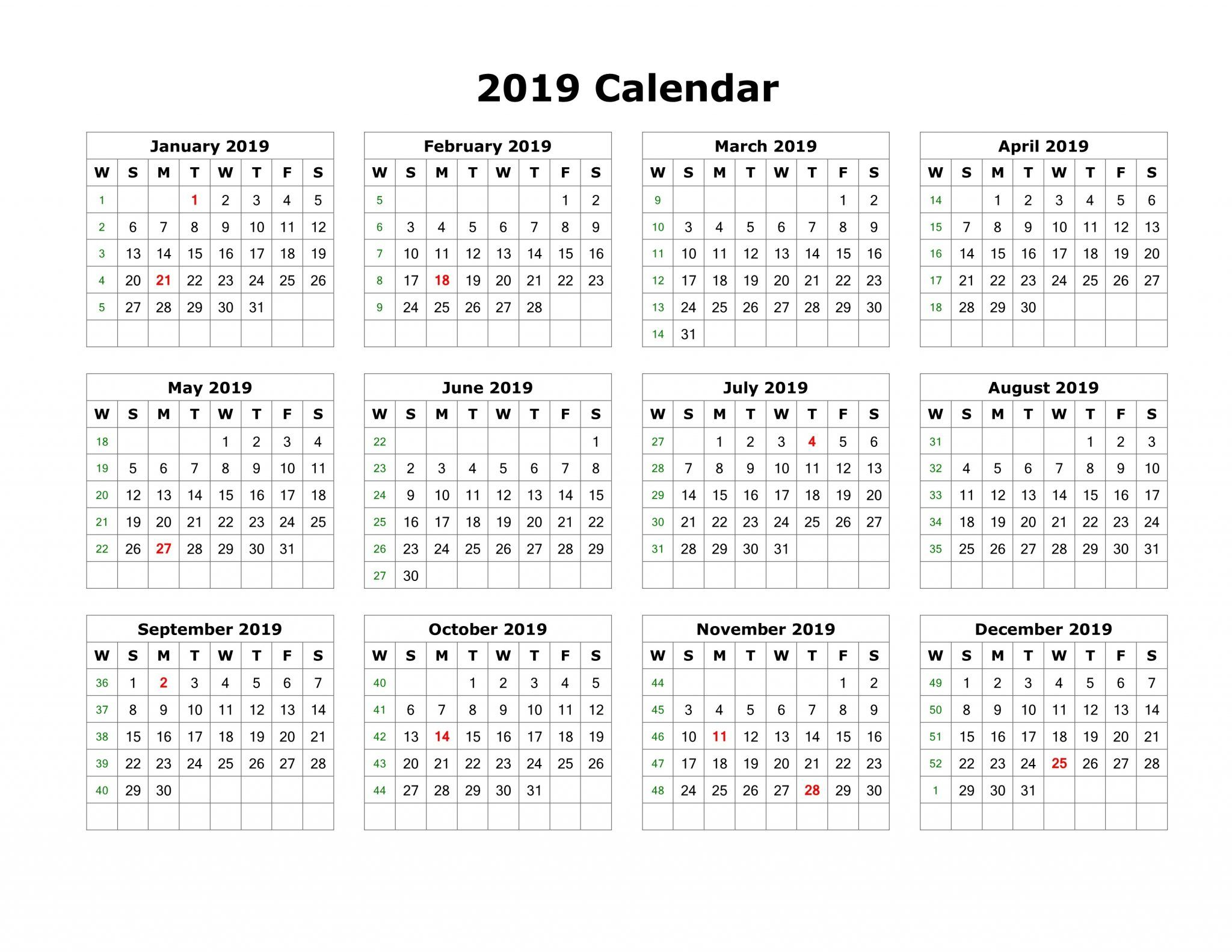 2019 Calendar Template Pdf Word Excel Free Download Throughout Uri Academic Calendar 2021