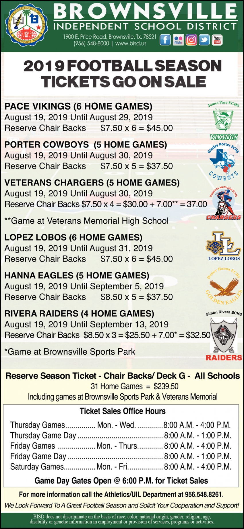 2019 Football Season Tickets Go On Sale, Brownsville Inside Brownsville Texas Bisd Calendar 2021 2020