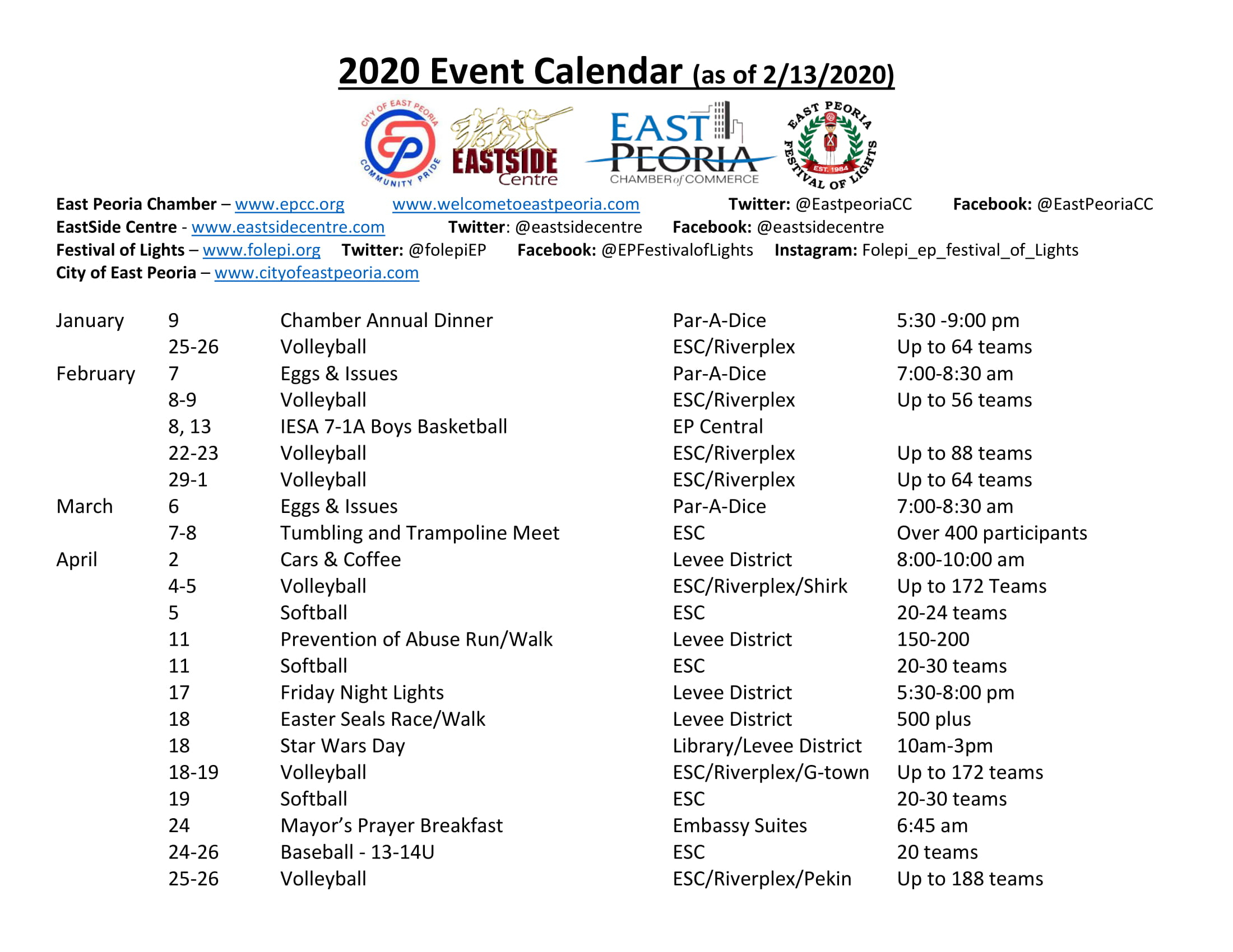 2019 Tourism Events - East Peoria Chamber Of Commerce Within Calendar Of Events Peoria Il