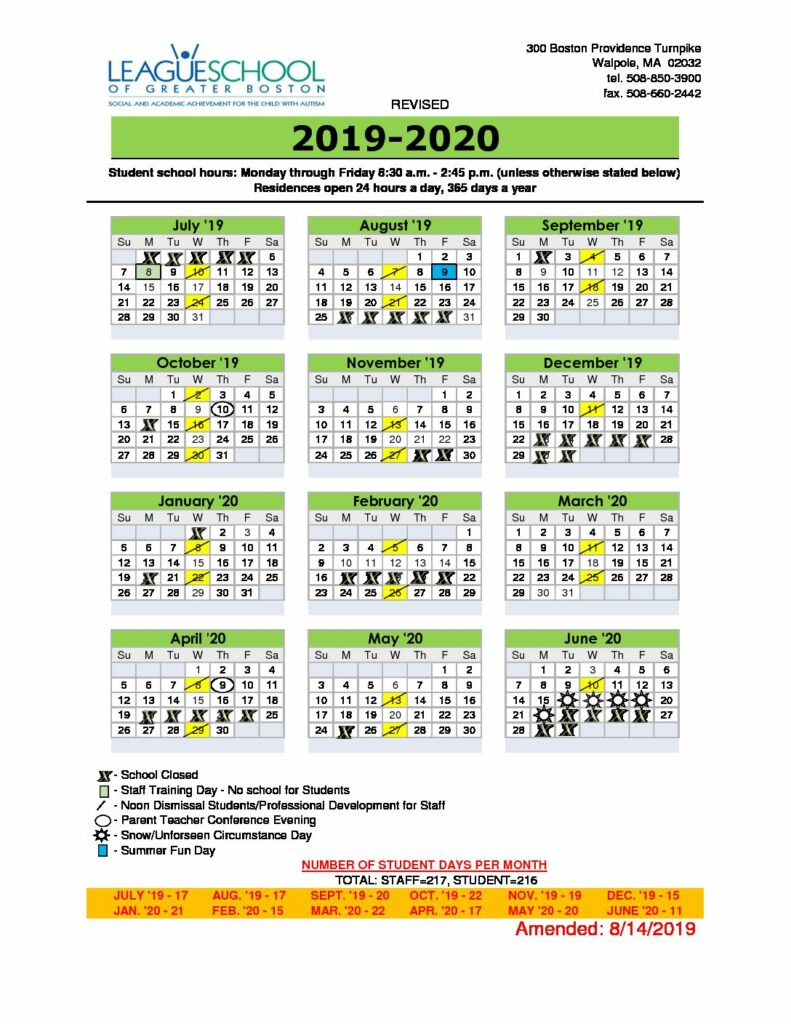 2019_2020 Calendar – League School Of Greater Boston in Univ Of Rhode Island School Calendar