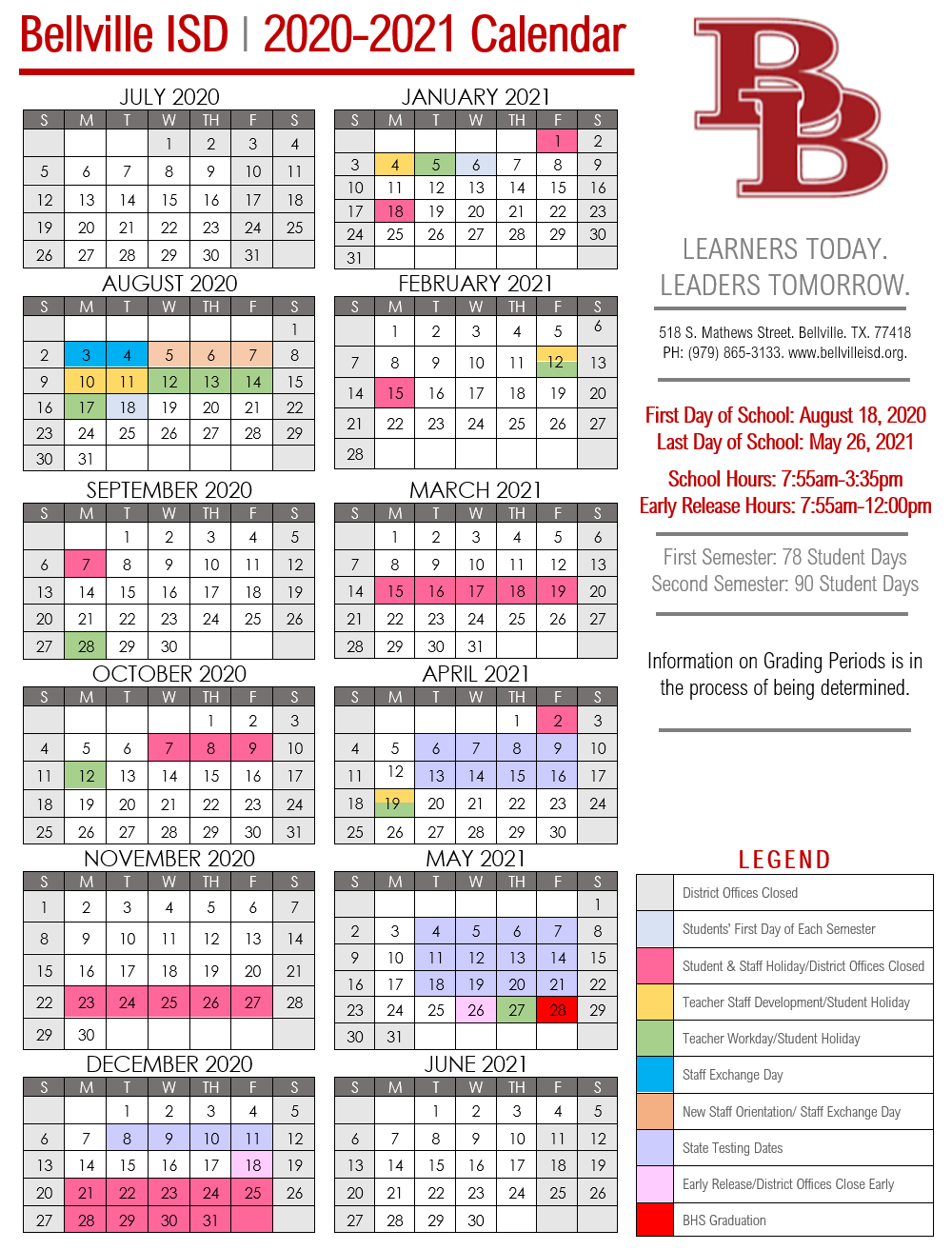 2020 2021 Bisd Calendar – Bellville Independent School District Intended For New Caney School Calendar