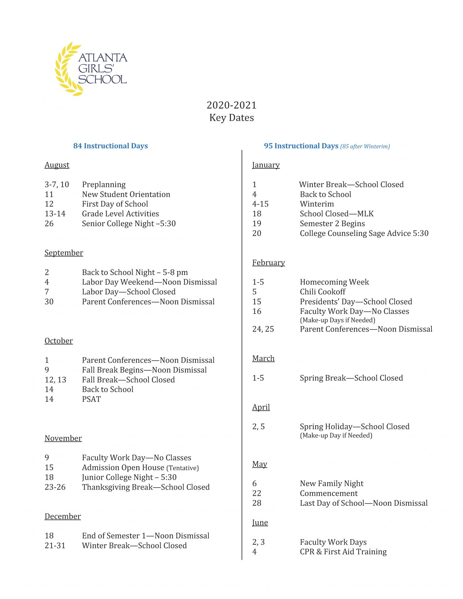 2020 2021 Calendar – Atlanta Girls' School Regarding Gsu Academic Calendar 2021