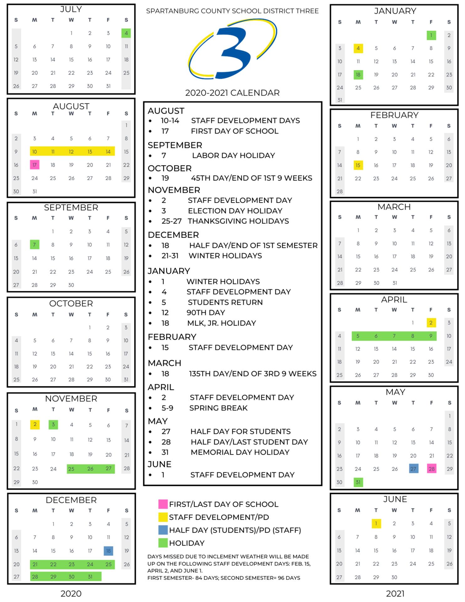 2020 2021 Calendar Regarding Rock Hill District 3 Calendar