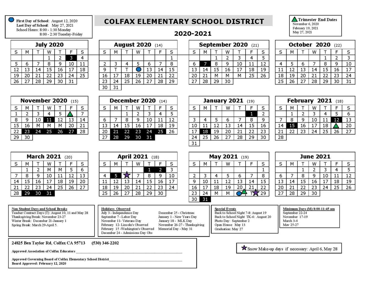 2020 2021 District Calendar – Schools – Colfax Elementary Inside Lodi Unified School District Calendar