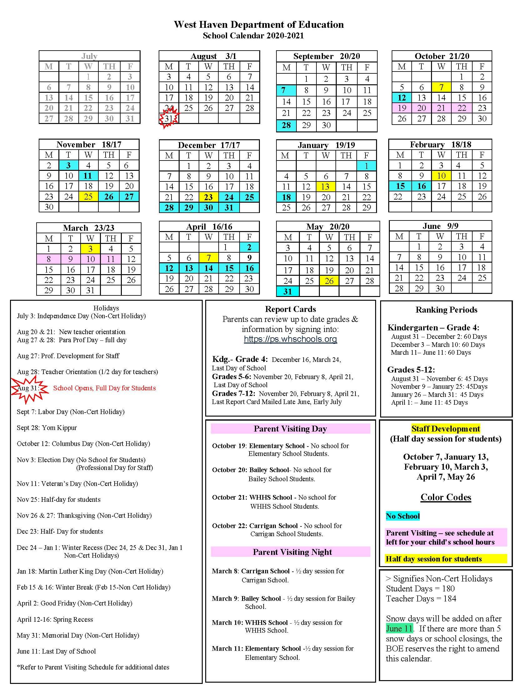 2020 2021 District Calendar – West Haven High School For 2021 2021 East Meadow School District Calendar