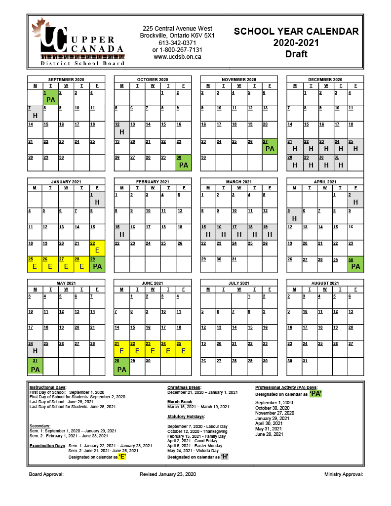 2020 2021 Draft School Year Calendar – Upper Canada District Within Post Falls High School Calendar