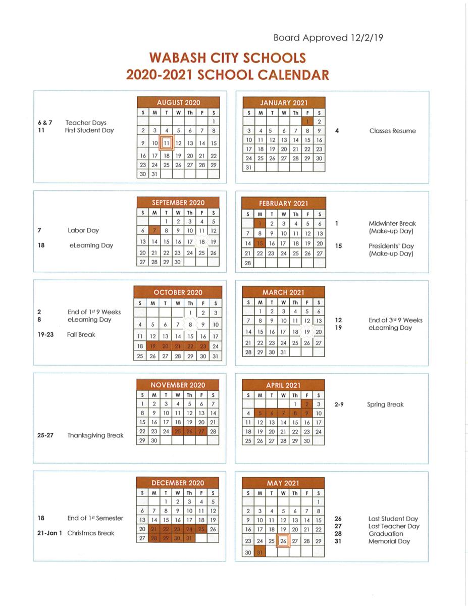 2020 2021 School Calendar – About Us – Wabash High School Inside West Orange Hs School Calender 2021