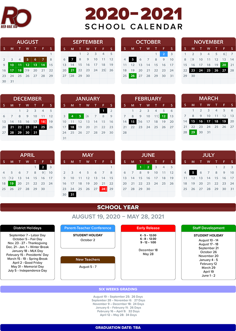 2020 2021 School Calendar / Annual Calendar – 2020 2021 Regarding West Orange Hs School Calender 2021