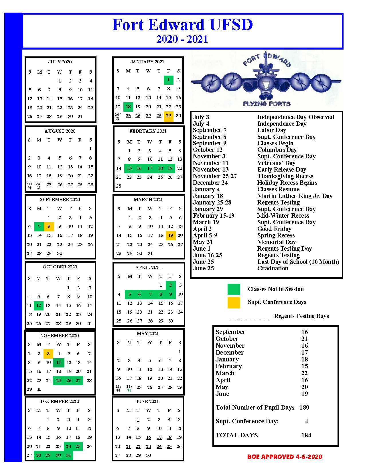 2020 2021 School Calendar - Fort Edward Union Free School Pertaining To 2021 2021 East Meadow School District Calendar