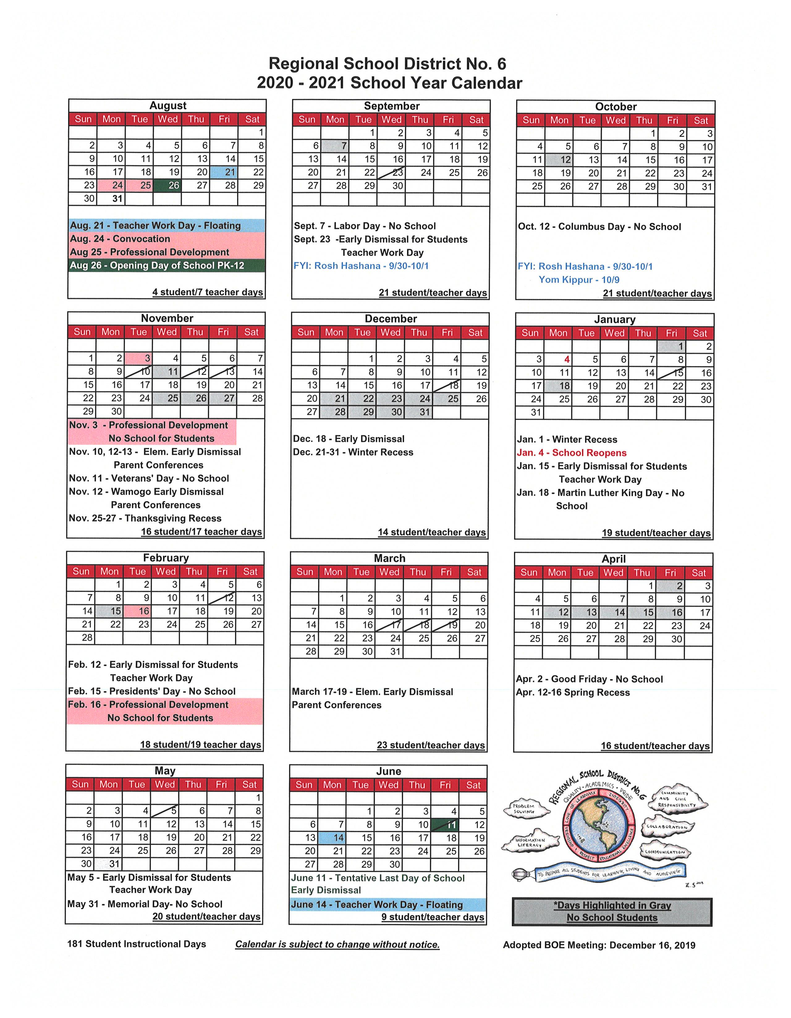 2020 2021 School Calendar - Regional School District No. 6 Inside East Hartford School Calendar 2021 2021