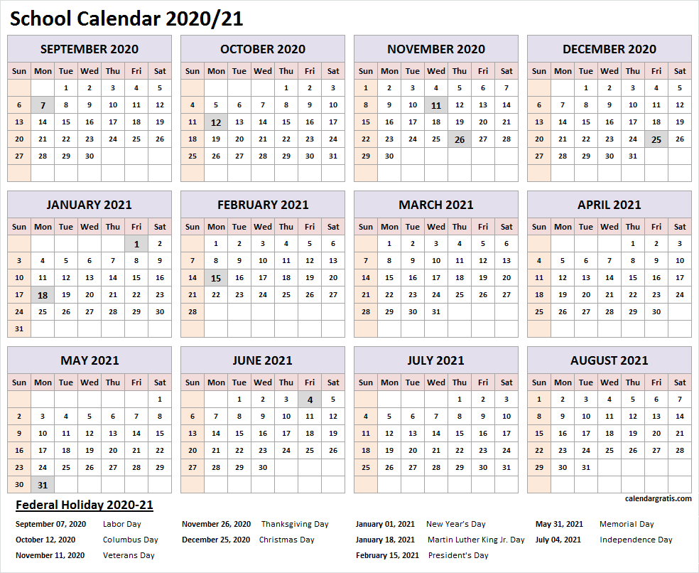 2020-2021 School Calendar Template In 2020 | School Calendar in Printable 2020 2021 School Calendar