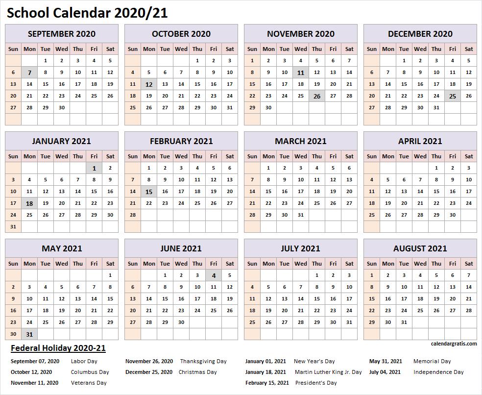 2020 2021 School Calendar Template In 2020 | School Calendar In Printable 2020 2021 School Calendar