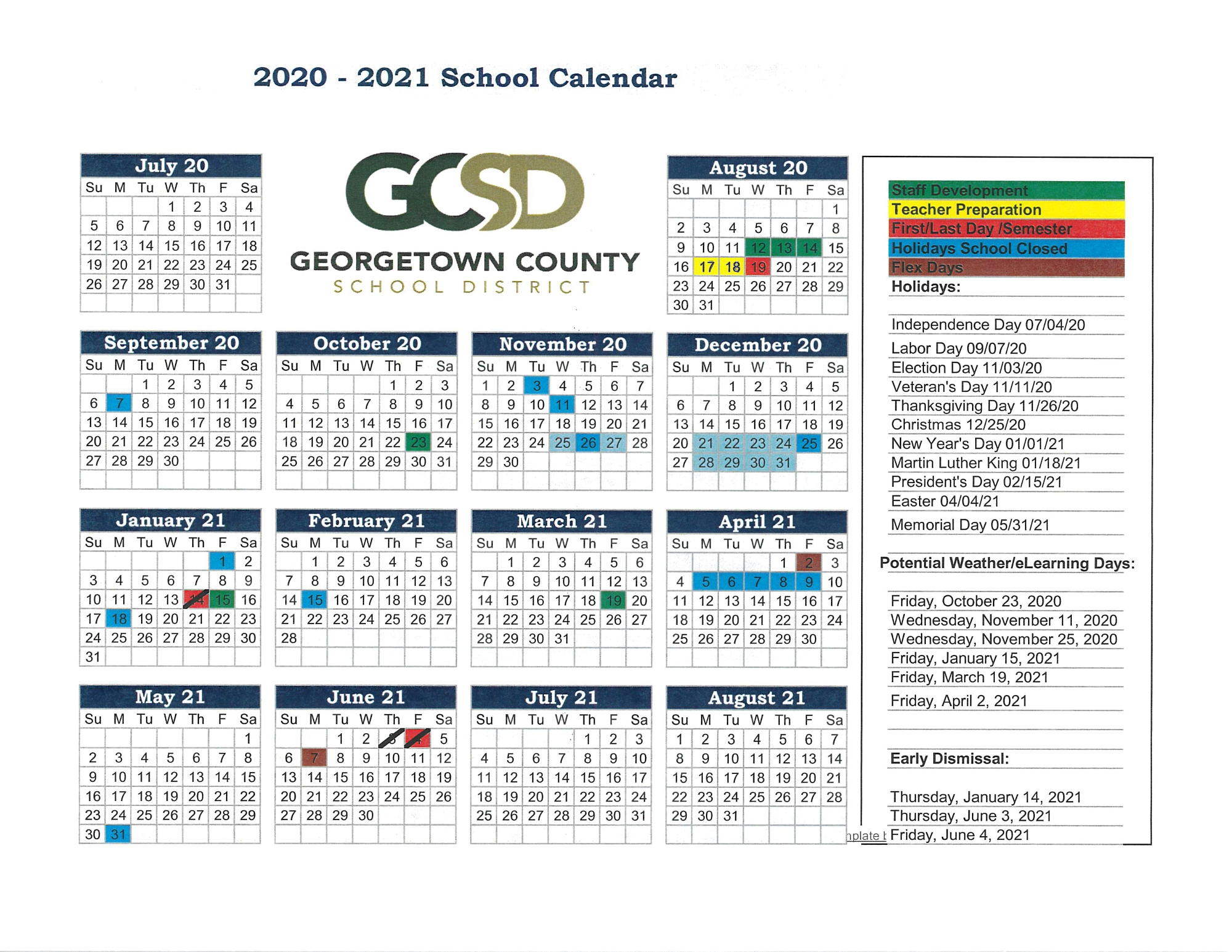2020 2021 School Year Calendar - Georgetown County School Pertaining To Georgetown County School District Calendar