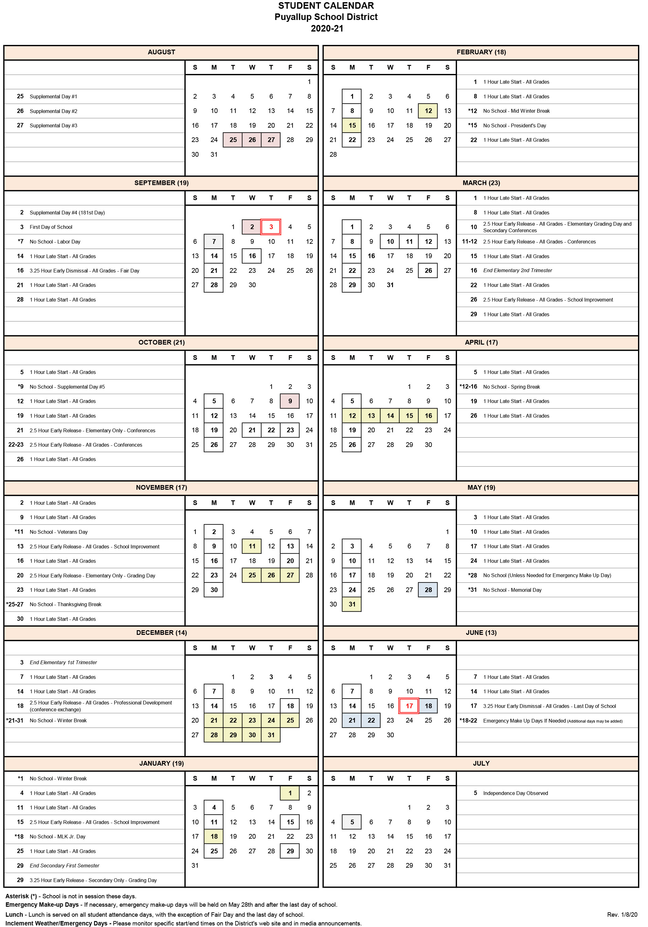 2020-2021 Student Calendar Approved - Puyallup School District with Post Falls High School Calendar