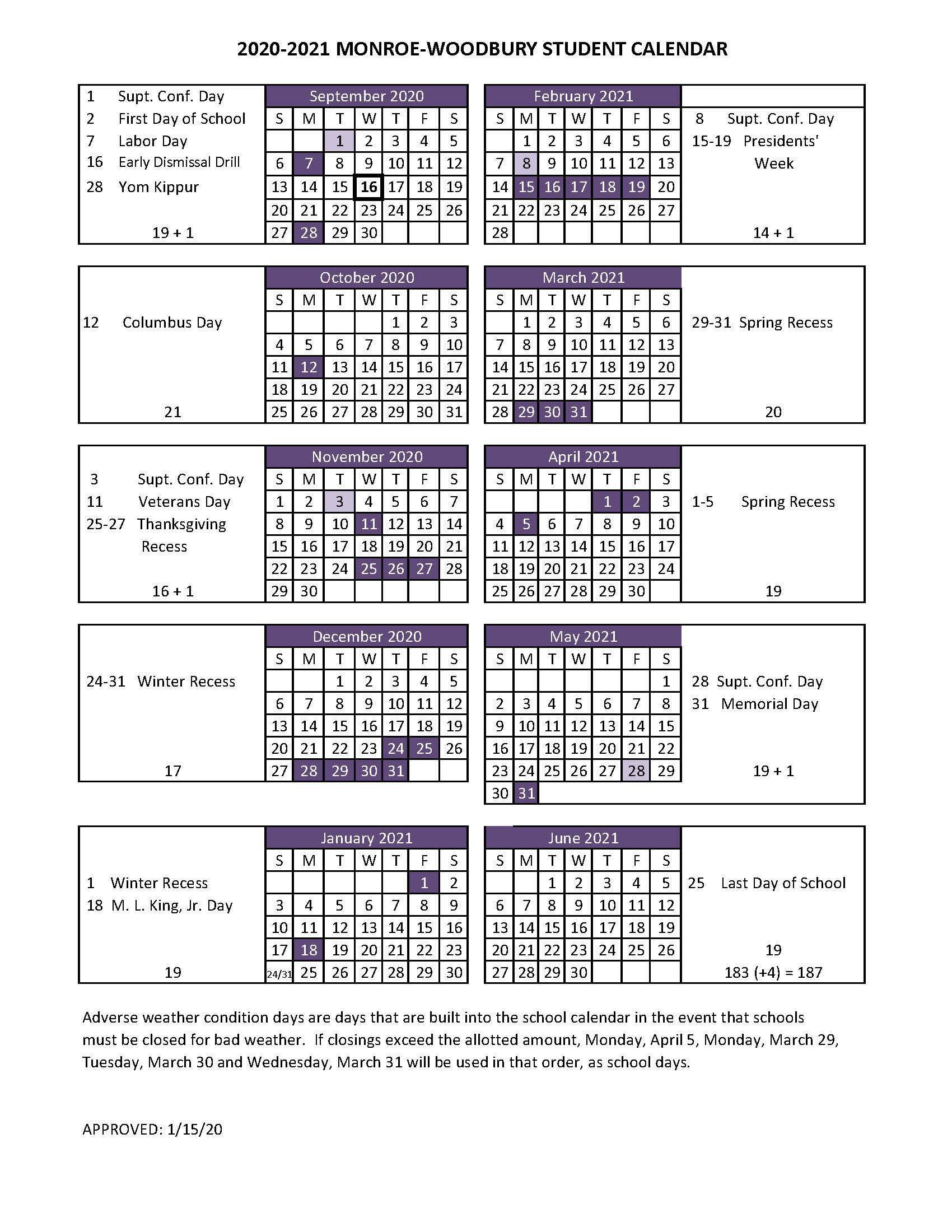 2020 2021 Student Calendar – Monroe Woodbury Central School Within Board Of Education Calendar Nyc