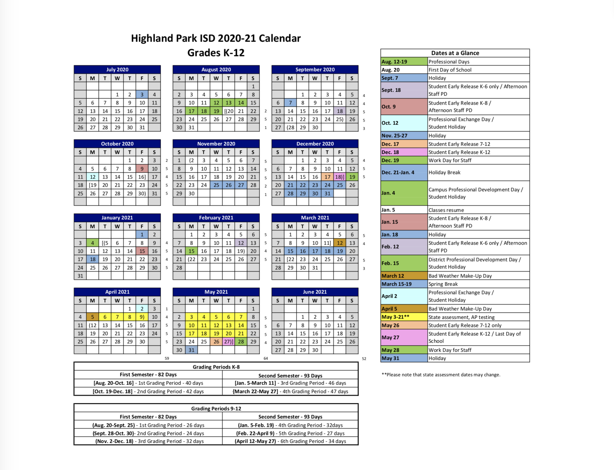 2020 – 21 Hpisd Calendar – Calendars – Highland Park Pertaining To Johnston County Public Schools Calendar 2021