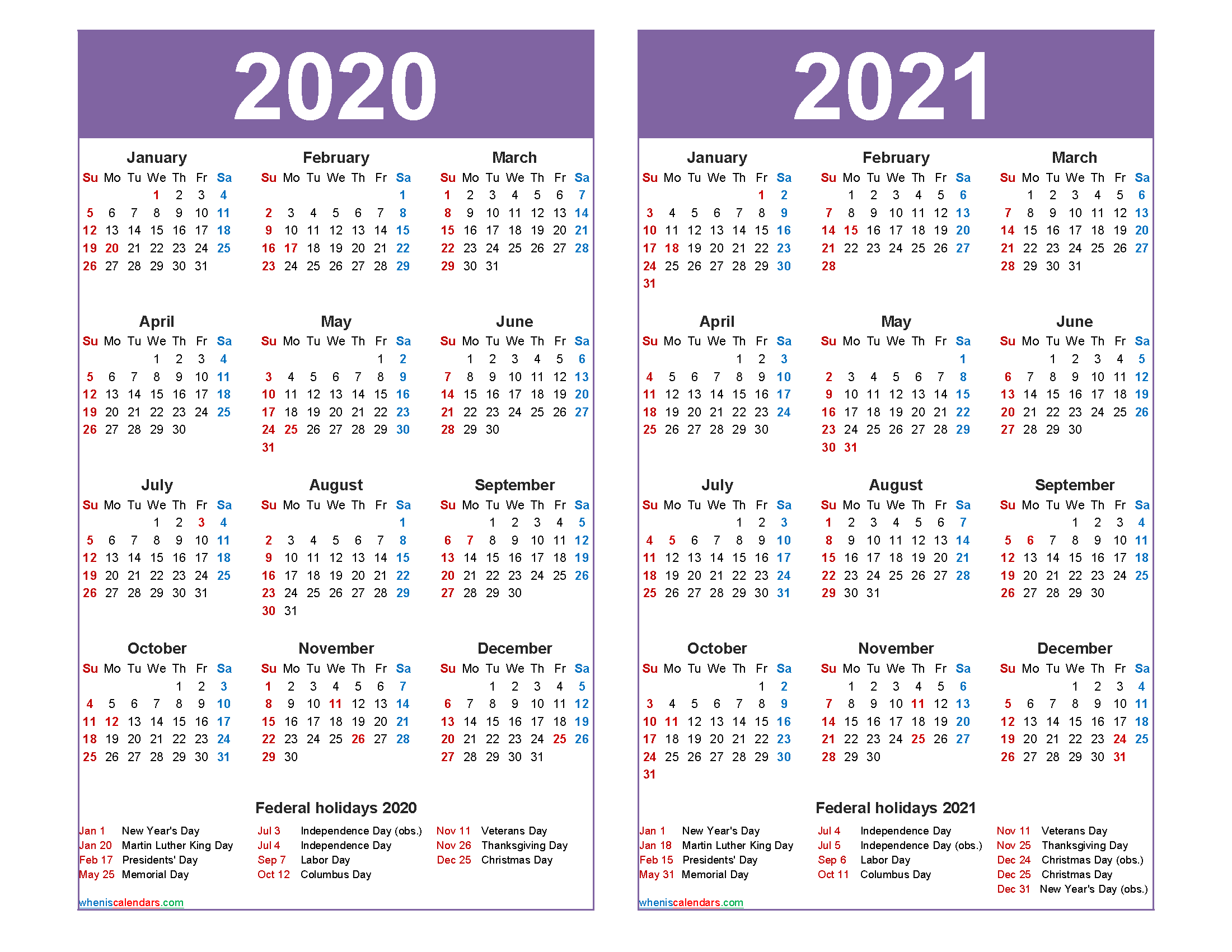2020 And 2021 Calendar Printable With Holidays Word, Pdf Within Word Of The Day Calendar 2021