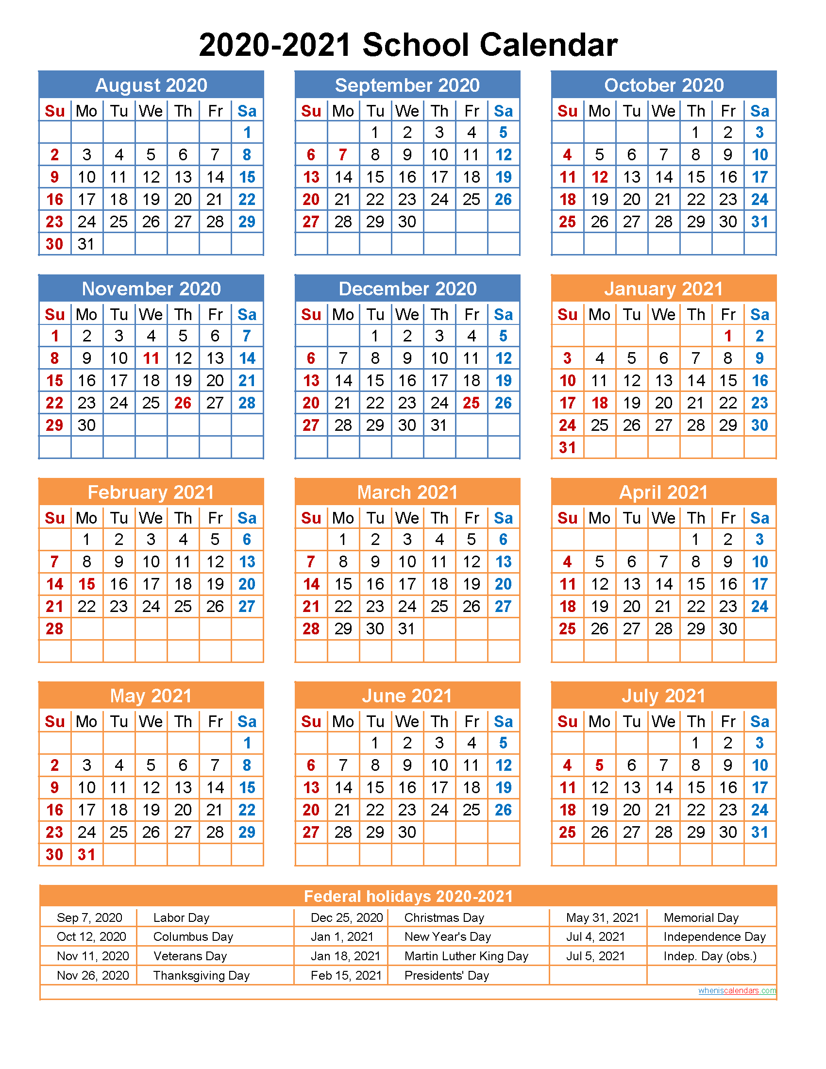 2020 And 2021 School Calendar Printable (Portrait)  Template With Printable 2020 2021 School Calendar
