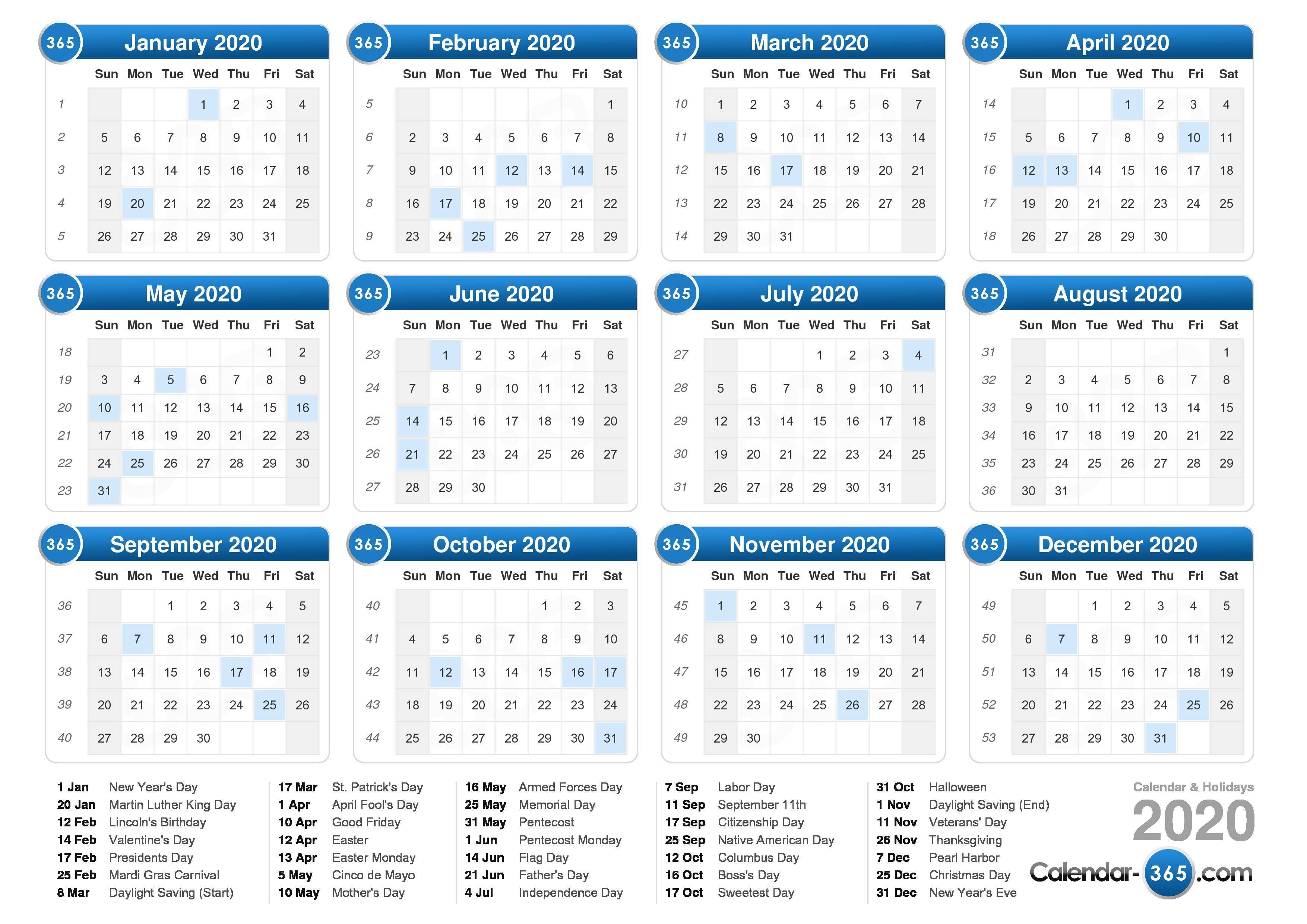 2020 Calendar With Regard To 454 Calendar For 2020