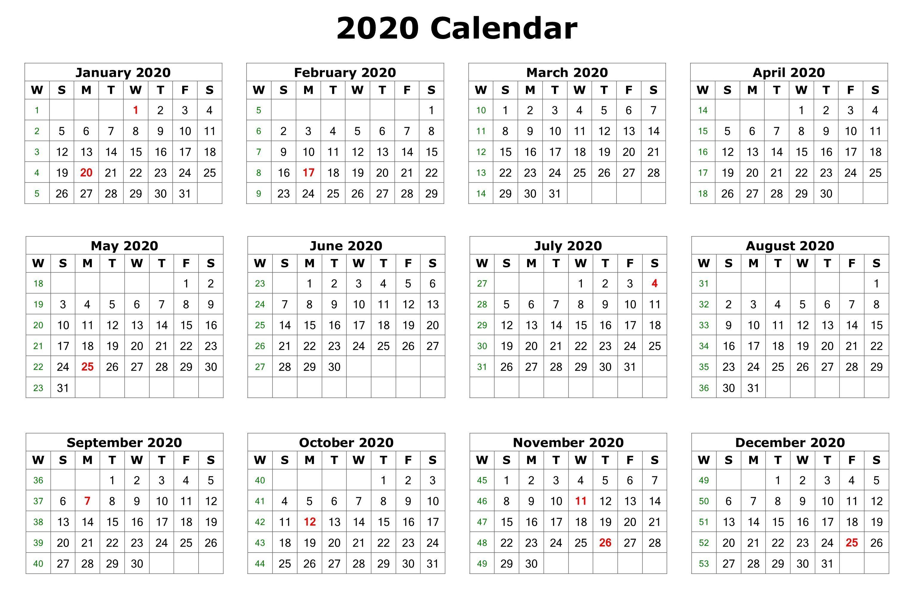 2020 One Page Calendar Printable   Calendar Printables Inside 12 Mo Calendar Template One Page No Dates